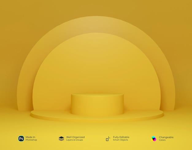 원형 디자인의 3d 기하학적 화이트 골드 옐로우 연단