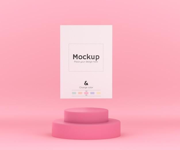 紙シートのモックアップと編集可能な色のためのシリンダー表彰台を備えた3d幾何学的ピンク環境