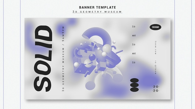 3d geometrical shapes banner template