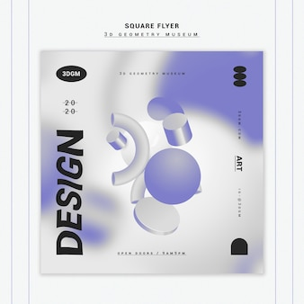 3d geometrical shapes flyer template