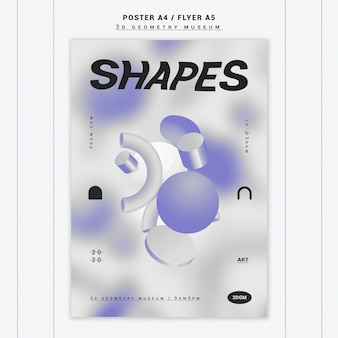 3d geometrical shapes poster template