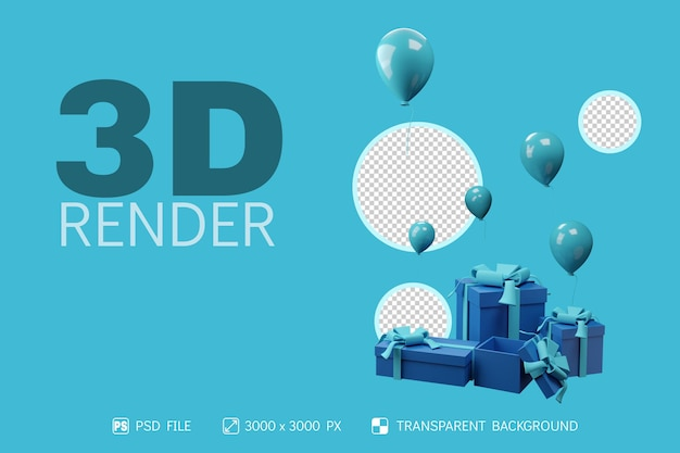 3d gift box and baloon with isolated background