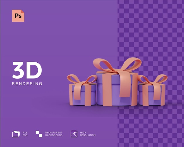 3d gift box concept rendering