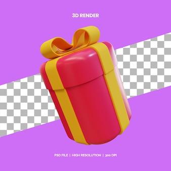 3d подарочная коробка со значком желтой ленты