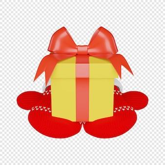 빨간 리본으로 장식된 노란색 상자에 3d 선물과 뜨개질을 한 빨간 벙어리 장갑