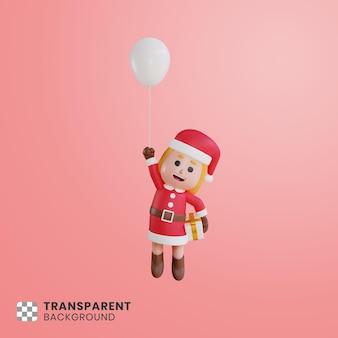 풍선과 함께 떠있는 3d 소녀 캐릭터 산타 클로스