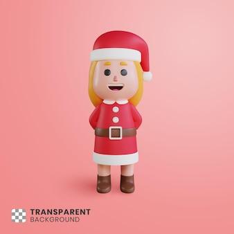 3d 소녀 캐릭터 산타 클로스 그녀의 손을 숨기고