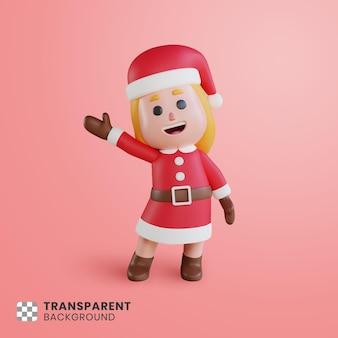 그녀의 손을 흔들며 3d 소녀 캐릭터 산타 클로스