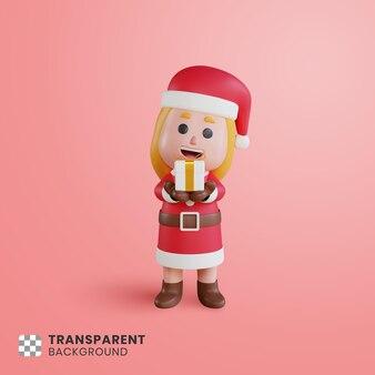 그녀의 손에 선물 상자와 3d 소녀 캐릭터 산타 클로스