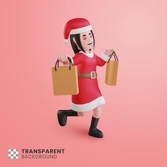 3차원, 소녀, 성격, 산타클로스, 와, 쇼핑백