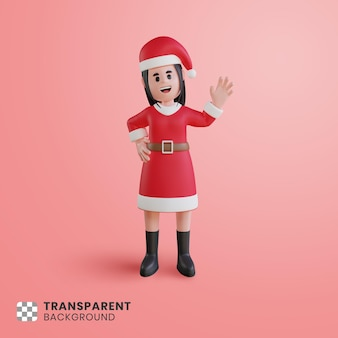 3d girl character with santa claus costume waving raised hand