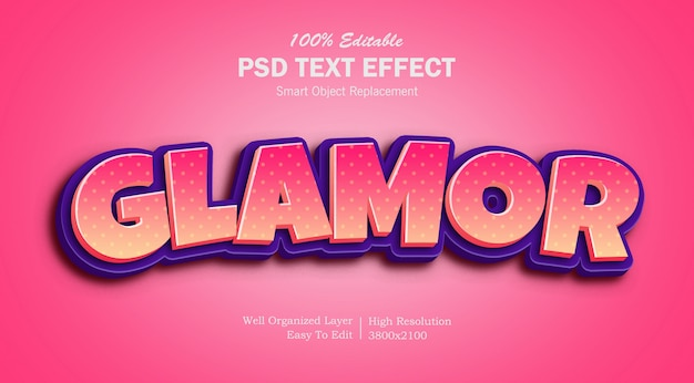 3d glamor pink text effect
