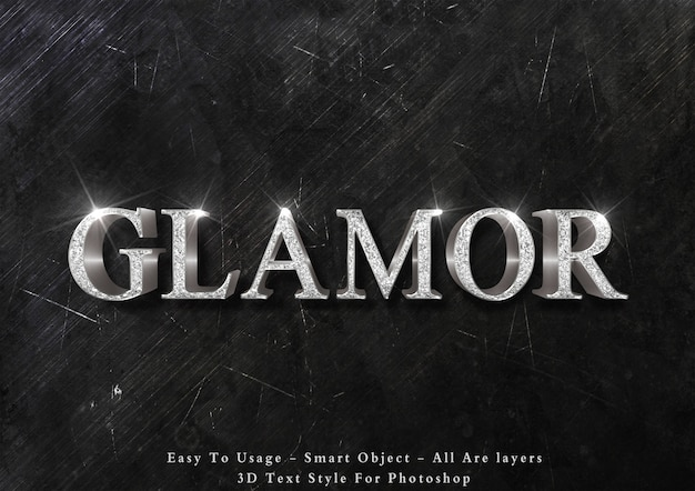 3d glamour silver text effect