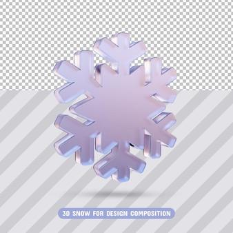 3d стеклянная снежинка в 3d-рендеринге изолированные
