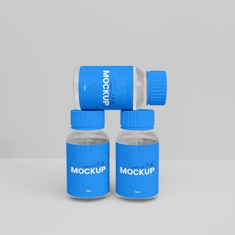 3dガラスサプリメントボトルモックアップ
