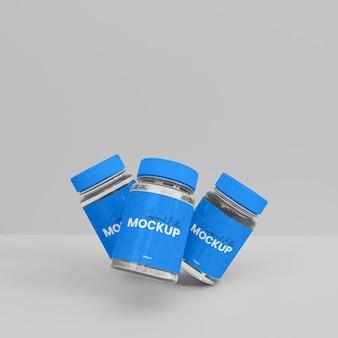 3dガラスサプリメント薬瓶モックアップ