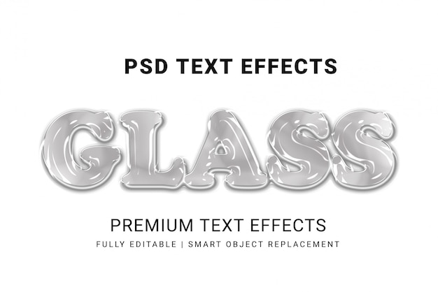 3d glass text style mockup