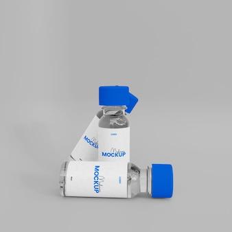 3d-макет стеклянной бутылки с вакциной