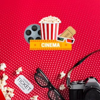 3d glasses and cinema mock-up flat lay