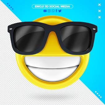3d glasses emoji with a very happy smile
