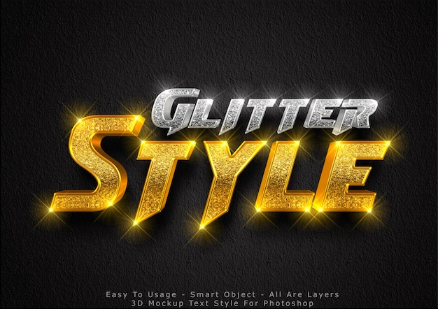3d glitter mockup text style effect