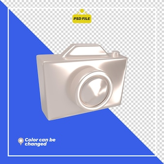 3d glossy camera icon rendering isolated