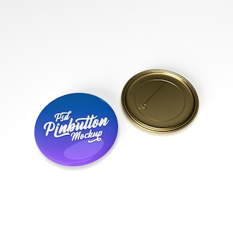 3d glossy circle  metal gold pin button on flat surface