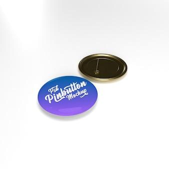 3d глянцевая круглая металлическая золотая кнопка булавки на плоской поверхности