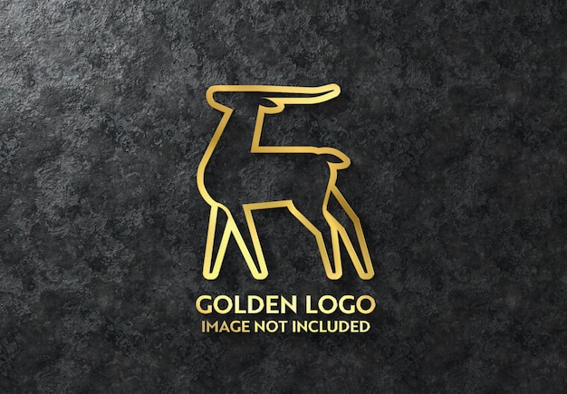 3d glossy gold logo sign on dark wall mockup