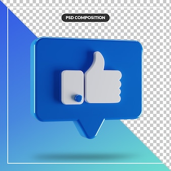 3d glossy like facebook icon isolated