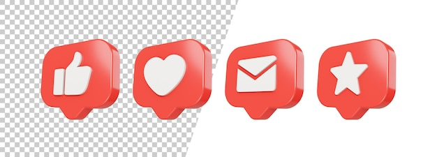 3d glossy like, love, mail, star icon design