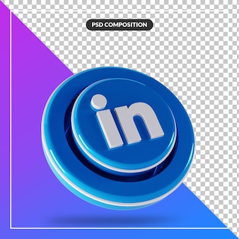 3d 광택 링크드 인 로고 격리 디자인