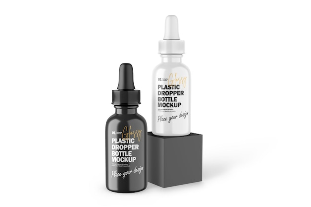 3d глянцевые пластиковые бутылки-капельницы косметический продукт psd mockup