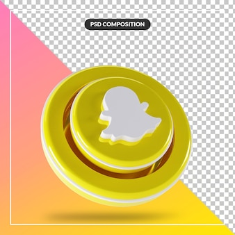 3d глянцевый snapchat логотип изолированный дизайн