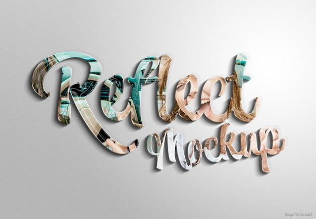 3d glossy text effet with reflection and shadow mockup