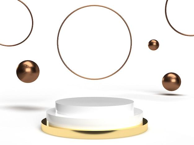 제품 배치 및 편집 가능한 연단이있는 3d 금 청동 우아한 흰색과 황동 장면