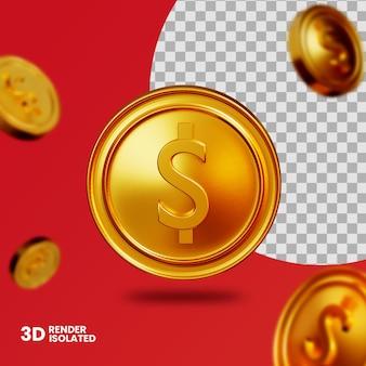 3d золотая монета изолирована