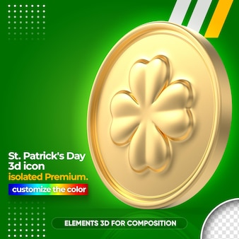 3d gold coin for st. patrick's day rendering