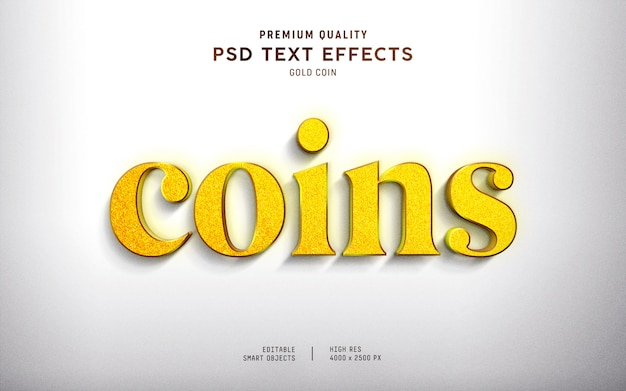 3d gold coin text effect style