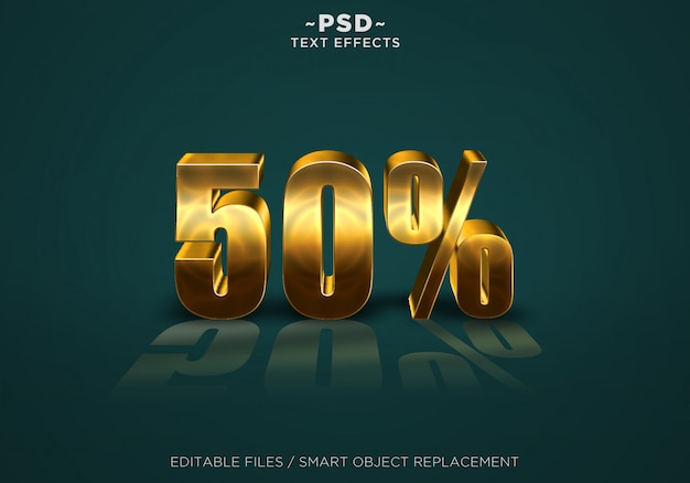 3d gold discount 50% effects editable text