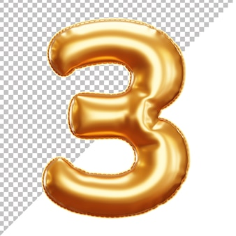 3d gold helium foil balloon number 3