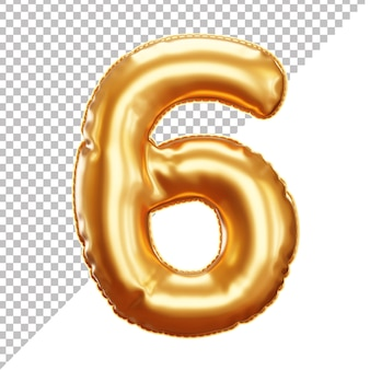 3d gold helium foil balloon number 6