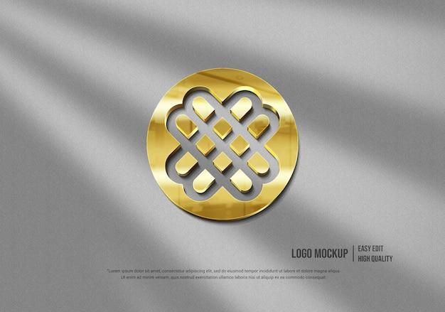 3d золотой логотип макет современной стены
