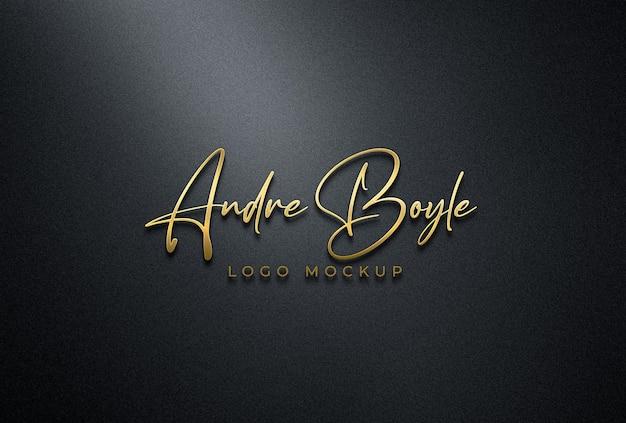 3d-макет золотого логотипа на черной стене