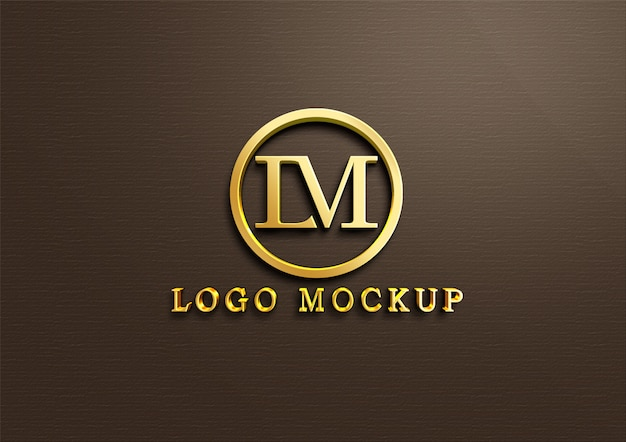 3d gold logo mockup on wall