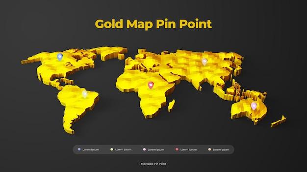 3d золотая карта с подвижной точкой
