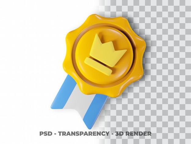 Значок 3d золотая медаль с прозрачным фоном