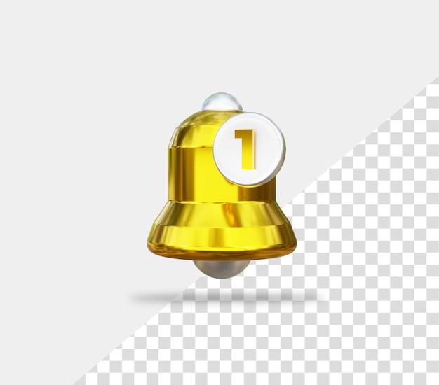 3d 골드 알림 벨 아이콘 버튼