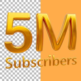 3d золотой номер 5 миллионов подписчиков рендеринга изображений