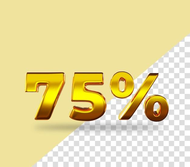3d золото число 75 процентов от рендеринга текста Premium Psd